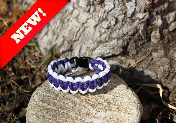 Purple White Survival Band - Buckle