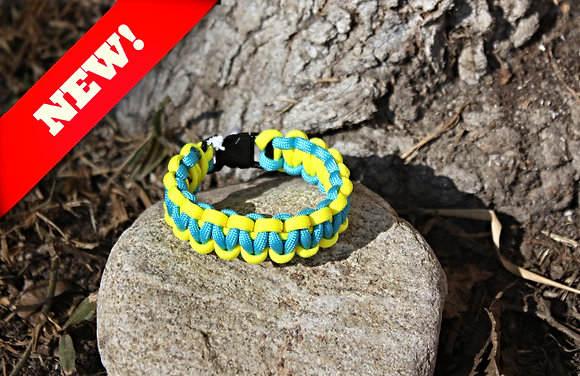 Teal Yellow Survival Band - Buckle