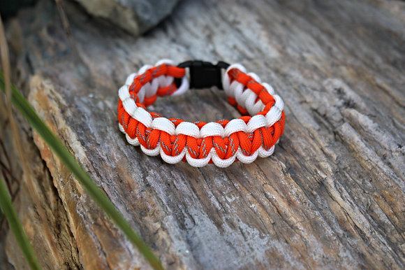 Reflective Orange White Survival Band - Buckle