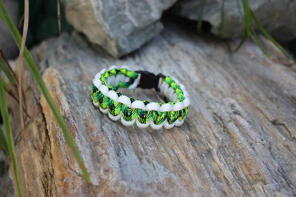 White Sporty Green Survival Band - Buckle