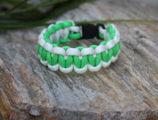 Neon Green White Survival Band - Buckle