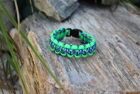 Neon Green Marina Blue Survival Band - Buckle