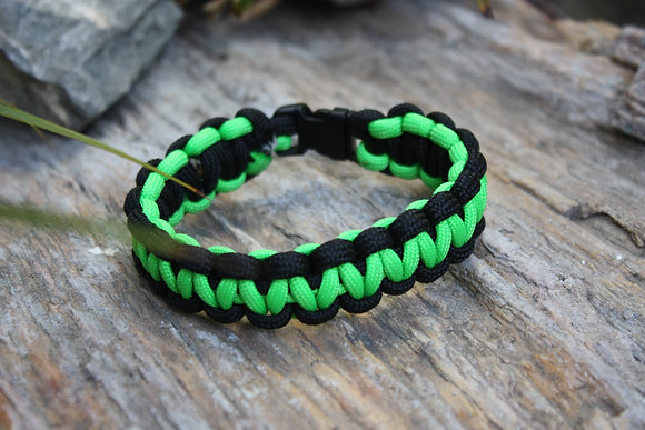 Neon Green & Black Survival Band - Buckle