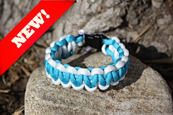 Teal White Survival Band - Buckle