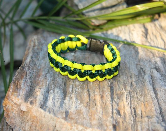 Kelly Green Yellow Survival Band - Buckle