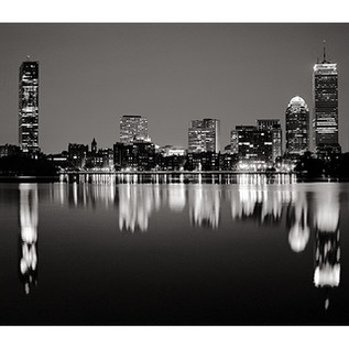 Evening in Boston Under Harvest Moon (B&W)