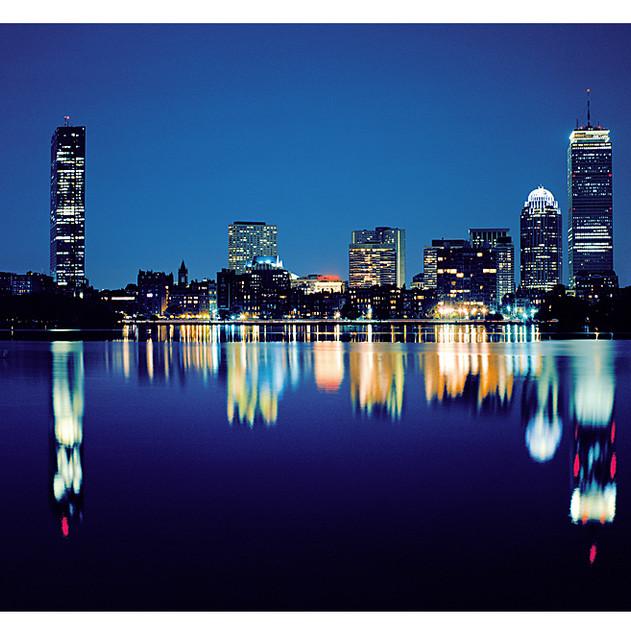 Evening in Boston Under Harvest Moon