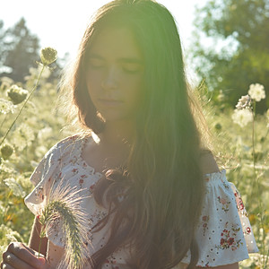 The girl and a meadow.