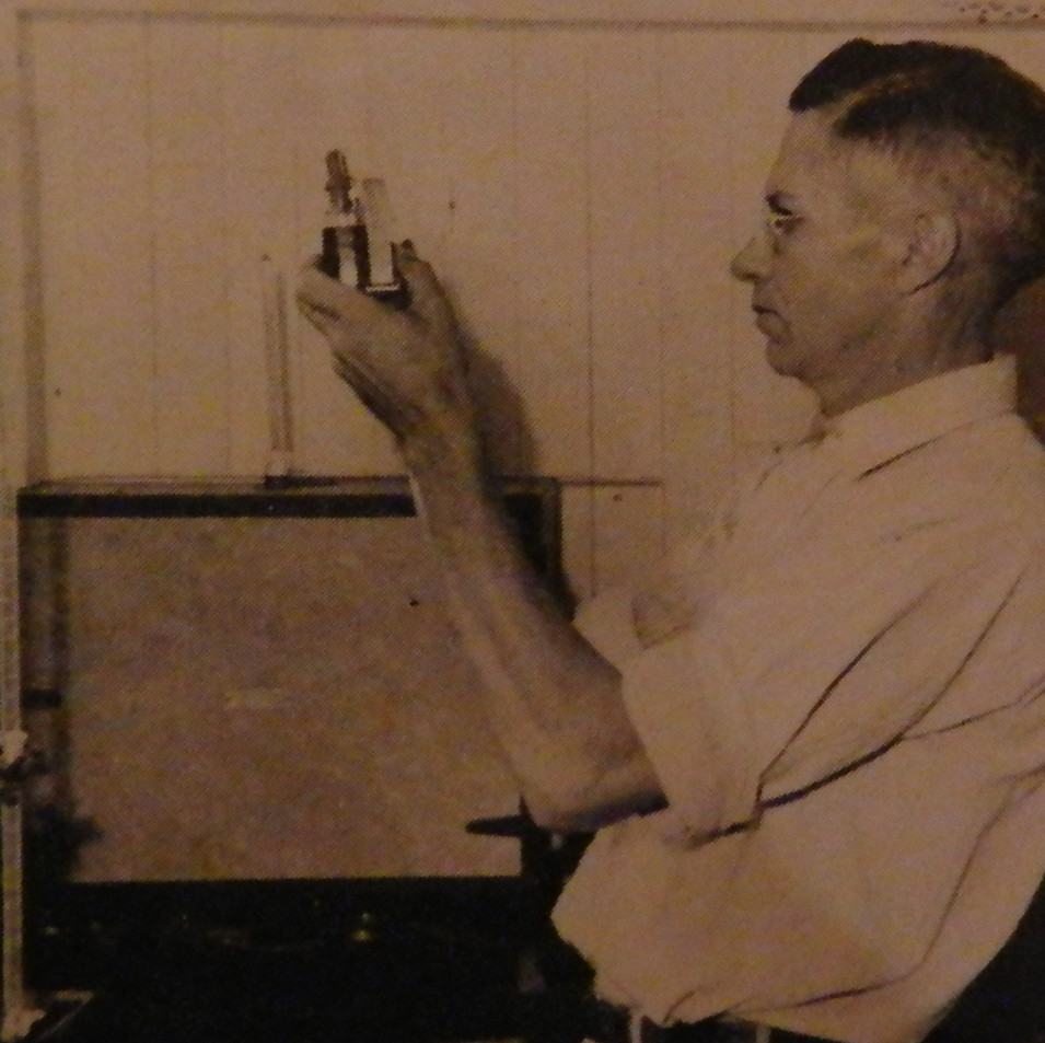 Tom Davis testing water at the Shannon Water Plant - 1946