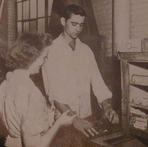 Dope Wagon - Buck Langston makes change for Louise Moore in the Spinning Room. 1947