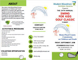 Swing for the Kids Golf Tournament flyer