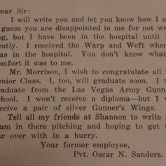Letter from Pvt. Oscar Sanders - 1944