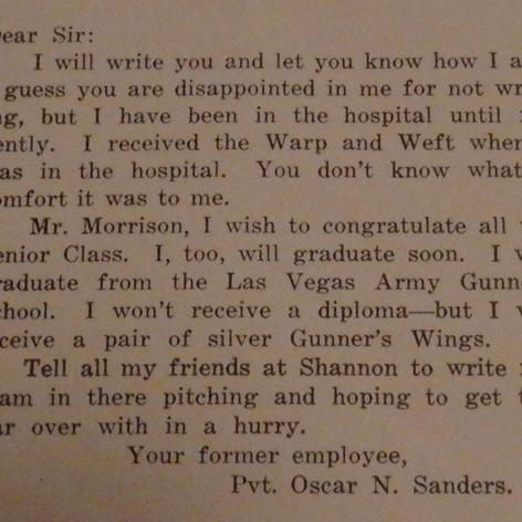 Letter from Pvt. Oscar Sanders - 1944