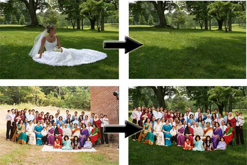 Steve St Clair of Highlights Photography took the picture on the bottom left, but since the surrounding area wasn't that attractive, he asked us to put the group elsewhere. We found a picture he'd taken of a bride on a pretty, grassy field. We then removed her from the background and stuck the family in.