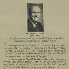 Dr. Randall H. Minor - Principal 1936 - 1958