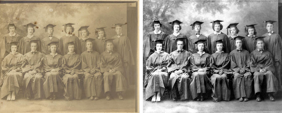 Spots and light had degraded this graduation image. We were able to remove the spots and, with the customer's permission, turn it into a black and white, which really makes the image pop!