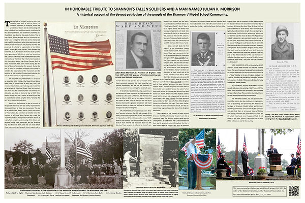 A plaque commemorating Shannon's fallen soldiers and a man named Julian K. Morrison.