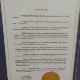 Georgia House of Representatives - Model School Proclamation - 2002