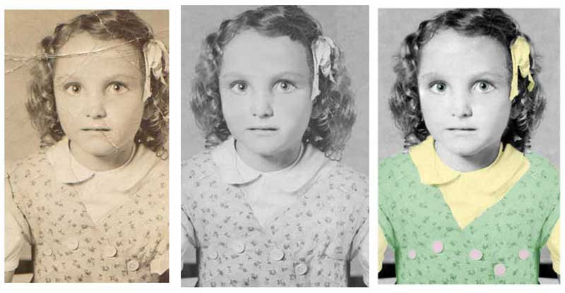 We removed the crease across her forehead and offered some colorized versions of the original.