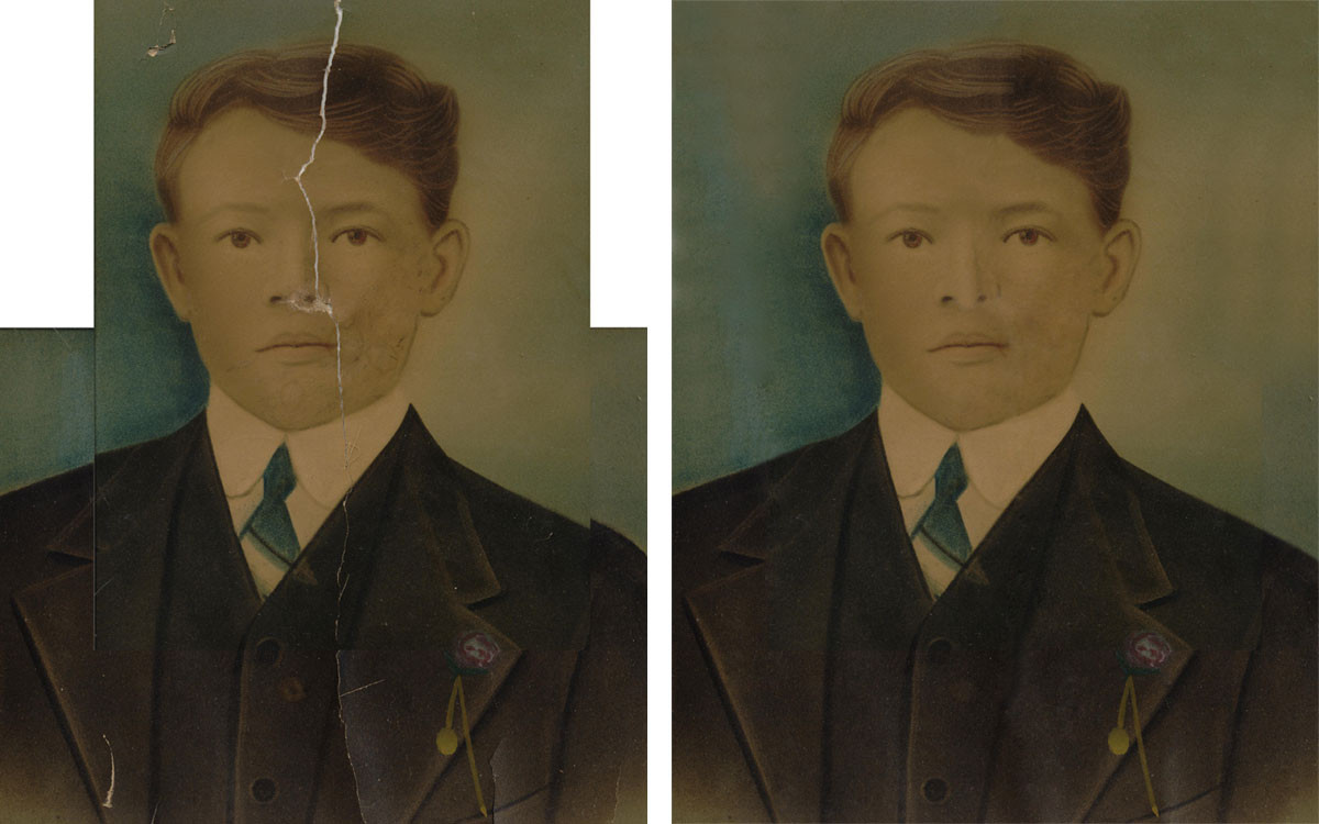 The before version here doesn't really reflect how badly damaged this painting was. The canvas was literally hanging onto the frame by threads and the image was pretty much split in half. But once the restoration was finished, this young man had regained his debonair flair!