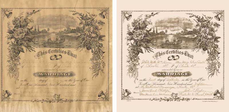 """Documents, such as this beautiful marriage certificate, can be just as important and sentimental as photographs. Given the water damage this one suffered, we are quite proud of it. We had to actually go in and digitally re-""""handwrite"""" some of the signatures."""
