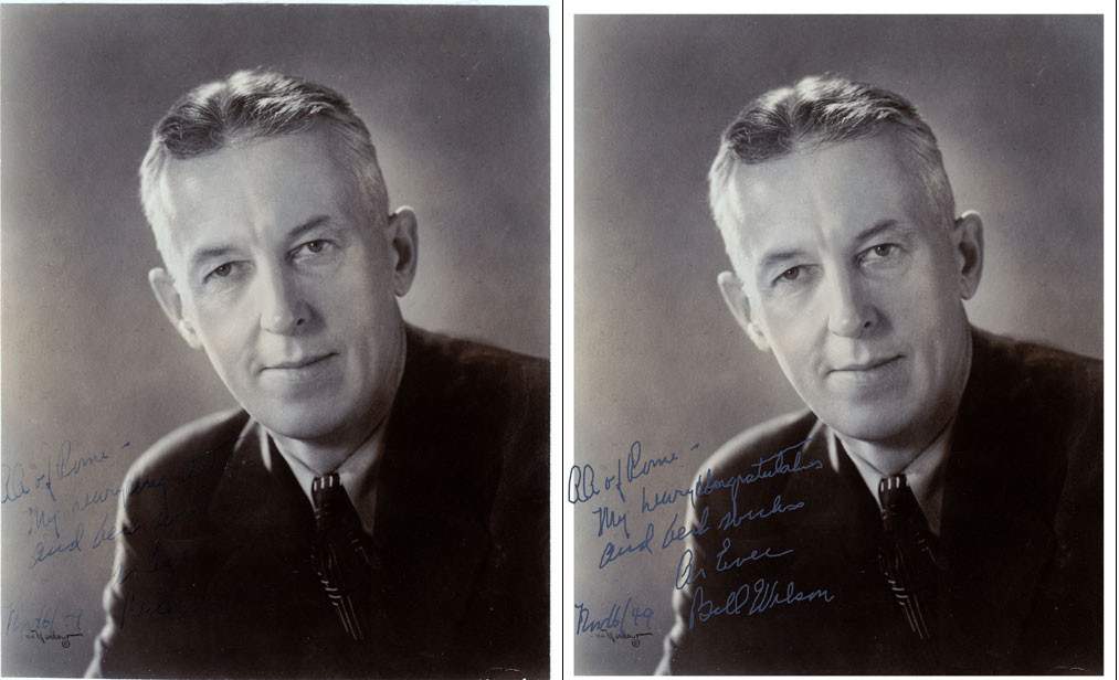 This is a picture of Bill Wilson, the co-founder of Alcohol Anonymous. Our client, himself associated with AA, sent us this picture asking if we could enhance Bill's writing and signature, which had faded over time. Bill visited Rome in 1949.