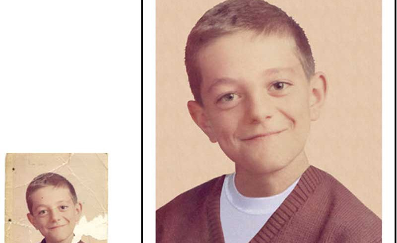 """This one meant a lot to our client—it was the only childhood picture he had of his father. As you can see, the boy's clothes were pretty much gone in the original. We were able to """"dress"""" him in a V-neck sweater and clean up the background."""