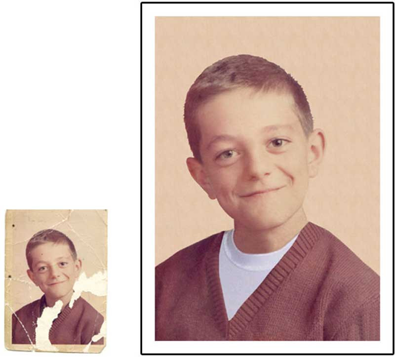 "This one meant a lot to our client—it was the only childhood picture he had of his father. As you can see, the boy's clothes were pretty much gone in the original. We were able to ""dress"" him in a V-neck sweater and clean up the background."