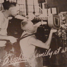 Eddie Reese & Homer Smith are overhauling a drawing frame - 1947