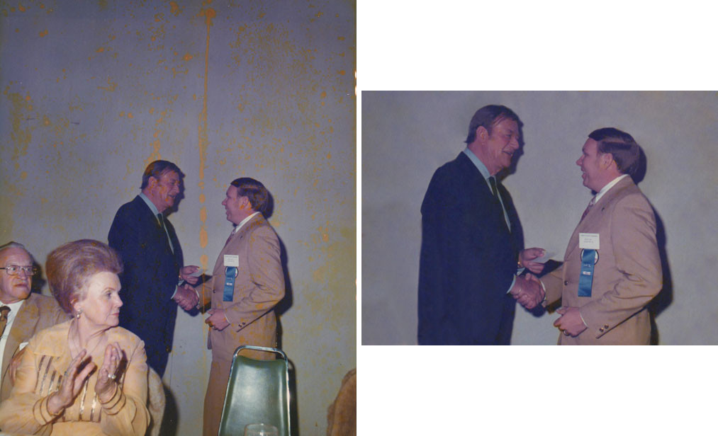 "Back in the early 1970s, our client's husband won a contest and the prize was a cow from the herd of none other than John Wayne! She didn't know the folks in the front, so we removed them and cleaned up the yellow splotches that littered the image. Incidentally, her husband was 6'2"" and The Duke towers over him!"