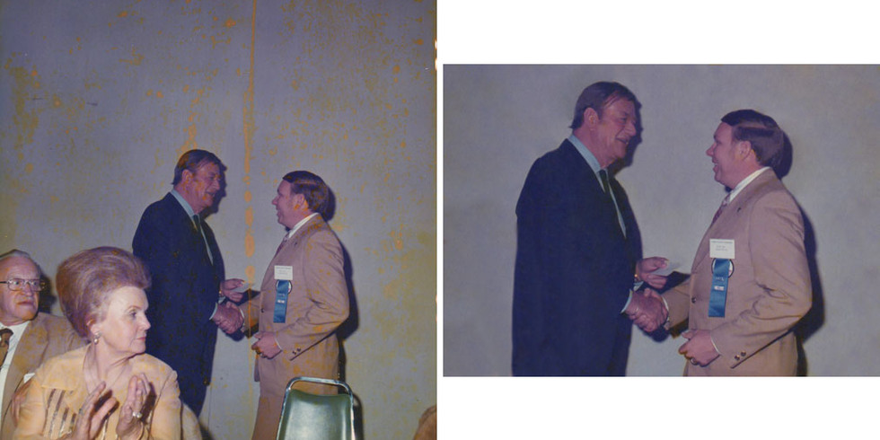 """Back in the early 1970s, our client's husband won a contest and the prize was a cow from the herd of none other than John Wayne! She didn't know the folks in the front, so we removed them and cleaned up the yellow splotches that littered the image. Incidentally, her husband was 6'2"""" and The Duke towers over him!"""