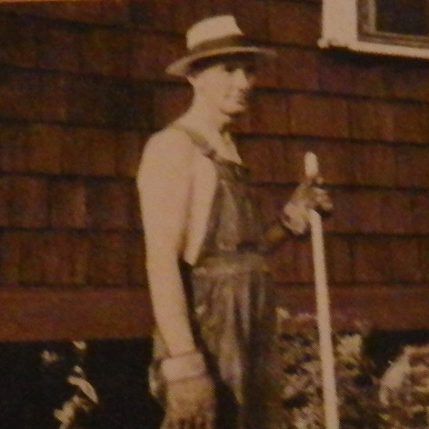 John Holder working in yard at home in mill village