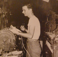 Harold J. Morris works second shift in the weaving department - 1946