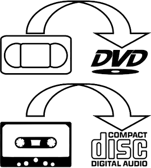 vhs to DVD cassette to CD