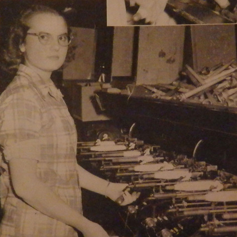 Frances Barker is a winding room employee and works on requillers - 1949