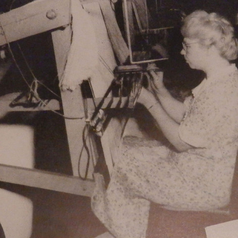 Daught Little has worked as a Draw-In Hand since 1937. She sets the patterns for the Brighton Fabrics. 1945
