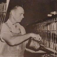 Alton Abernathy oils bearings in the Spinning Room - 1946