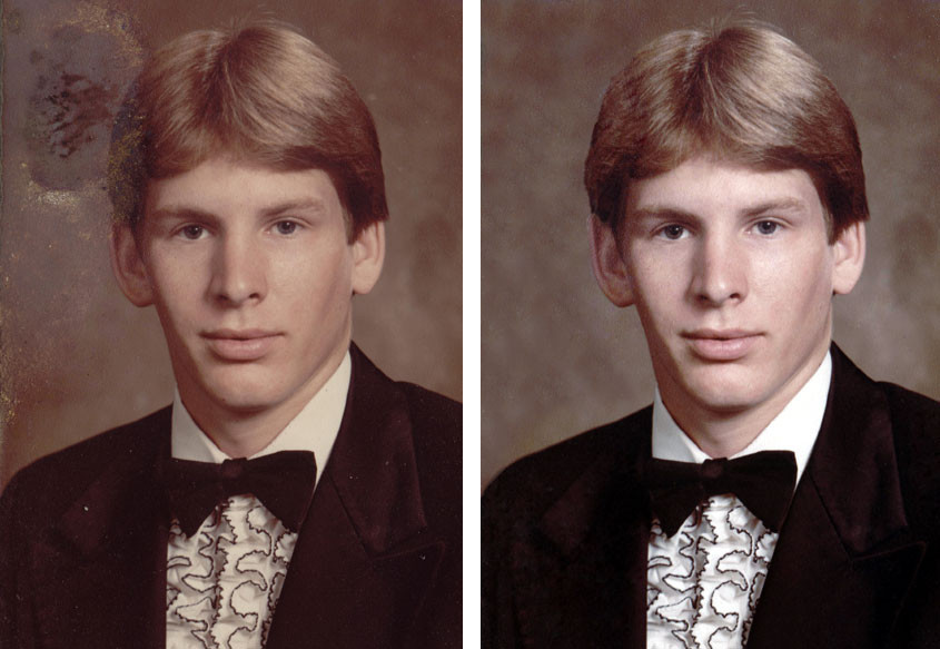 Photos don't have to be badly damaged to warrant restoration. Here, a little moisture and mildew disfigured this picture of our client's son's senior year portrait.