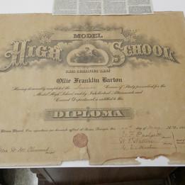 Model High School 1926 Diploma