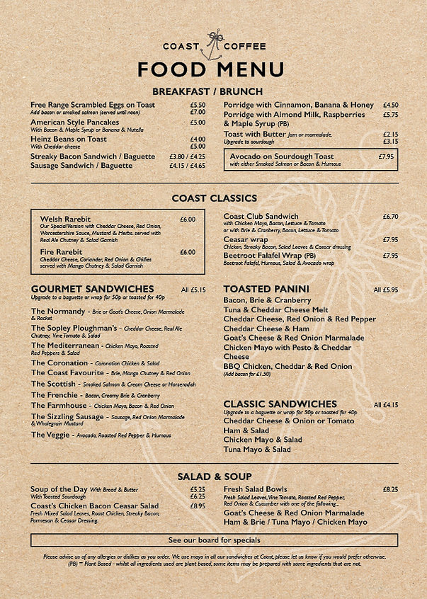 An image of the Coast Coffee menu. Items on the menu include bacon sandwich, baguettes, paninis, soup, salads and breakfast items like tea cakes, porridge and toast