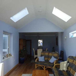 Pitched ceilings to provide volume overhead