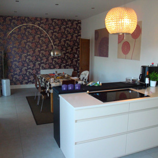 A comfortable open plan kitchen dining space