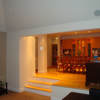Traditional dining with split level to lounge area