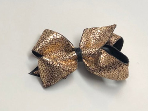 Wholesale Large Classic Leathery Copper Tone Faux Snake Skin Bow