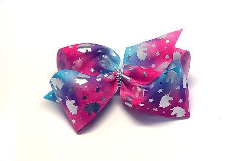 Large Hologram Unicorn Tie-dye Bow