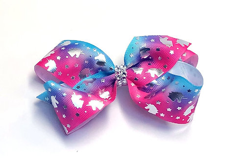 Medium Hologram Unicorn Tie-Dye Bow or Headband