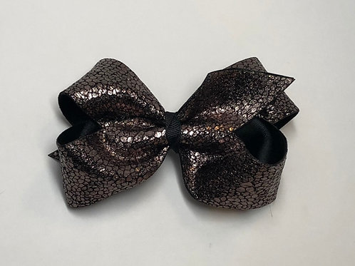Wholesale Large Classic Leathery Black Faux Snake Skin Bow