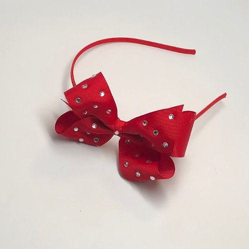 Wholesale Headband with Small Rhinestone Red Bow