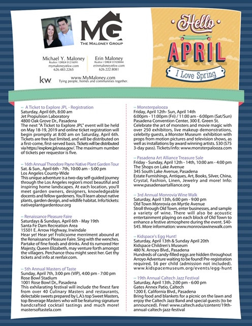 OUR TOP EVENTS FOR APRIL