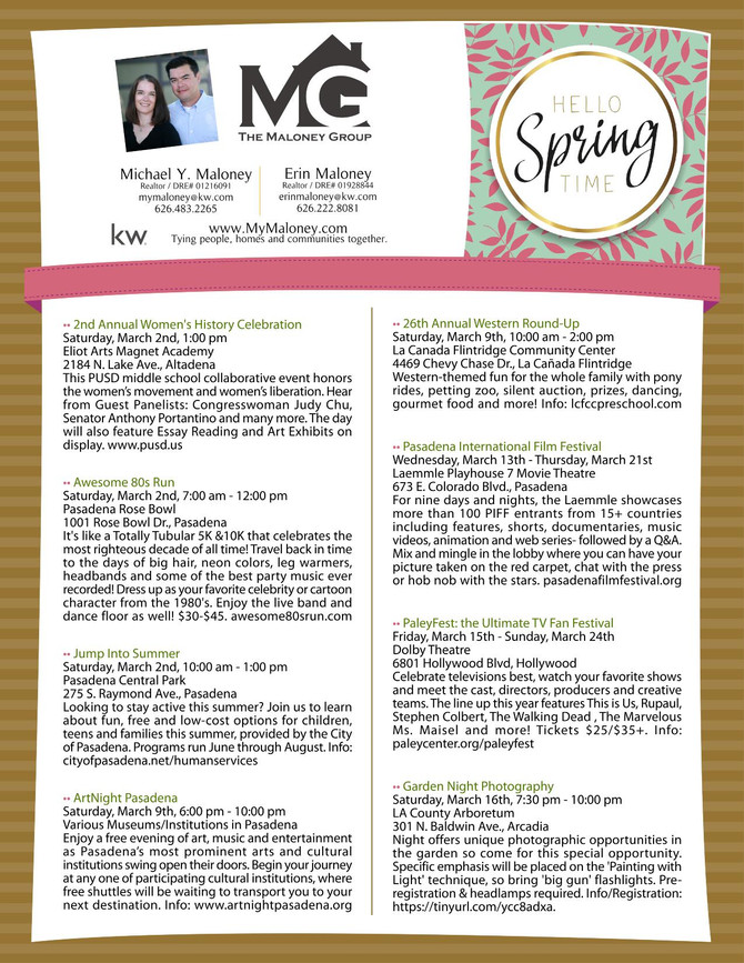 OUR TOP EVENTS FOR MARCH